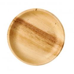 Assiette ronde bois palmier naturel 6 pièces 23 cm Déco festive 764NA