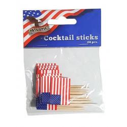 Lot 24 piques apéritifs drapeau USA Déco festive E62623