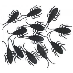 Sachet 12 cafards noirs 7 cm Déco festive 16825