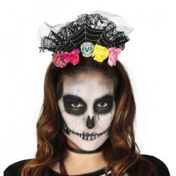 Diadème avec fleurs et tête de mort Accessoires de fête 26269