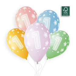 Sachet 5 ballons latex shiny 33 cm multicolore chiffre 1 Déco festive 313727