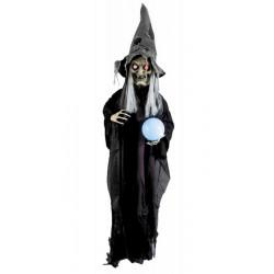 Suspension sorcière sonore animée et lumineuse avec boule cristal Déco festive 902304