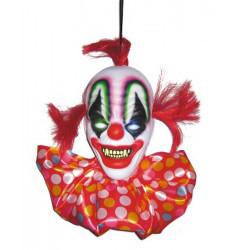 Suspension tête de clown de l'horreur lumineuse 40 cm Déco festive 902308