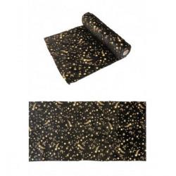 Chemin de table fourrure noire avec étoiles dorées 3 m Déco festive 11469-10