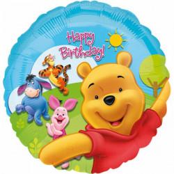 Ballon aluminium Happy Birthday Winnie et ses amis 43 cm Déco festive 15749 01
