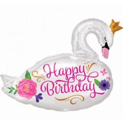 Ballon aluminium cygne Happy Birthday 78 cm Déco festive 3565101