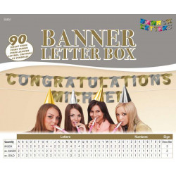 Bannière Boîte lettres Or et Argent 90 signes Déco festive 50451