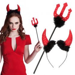 Set diable avec trident et serre-tête rouge Accessoires de fête 74433