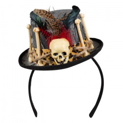 Tiare chapeau vaudou gris avec ossements Accessoires de fête 72182