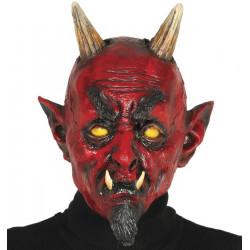 Masque diable rouge en latex avec cornes
