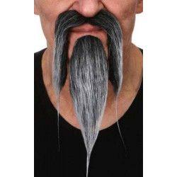 Moustache poivre et sel de chinois Accessoires de fête 26438I