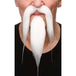 Moustache blanche de chinois Accessoires de fête 26438N