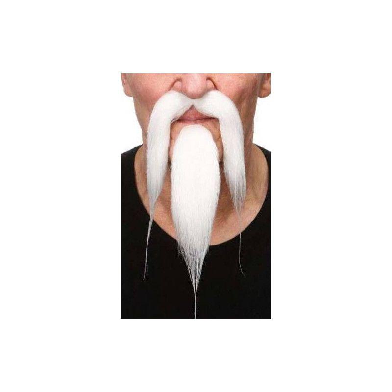 Moustache et barbichette blanches de chinois Accessoires de fête 26438N