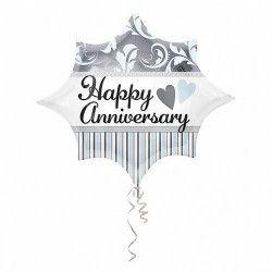 Ballon argent Happy Anniversary 50 cm Déco festive 2681601