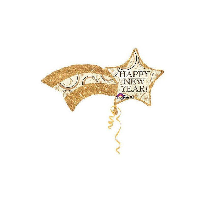 Ballon hélium étoile filante 45 cm Happy New Year Déco festive 2724301