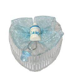 Contenant à dragées en coeur avec biberon et tototte bleus Cake Design 28272