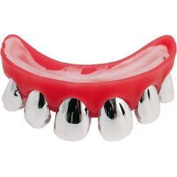 Dentier rigide avec dents argentées Accessoires de fête 28800