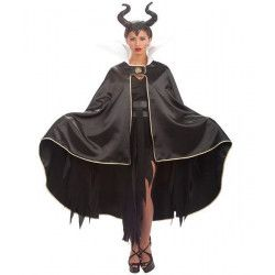 Déguisements, Cape de sorcière en satin noir avec col, 29005, 36,90€