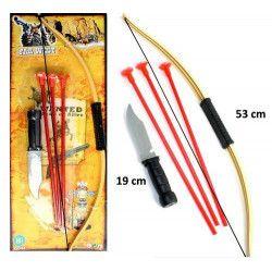 Arc indien 53 cm avec flèches et couteau Jouets et articles kermesse 30073