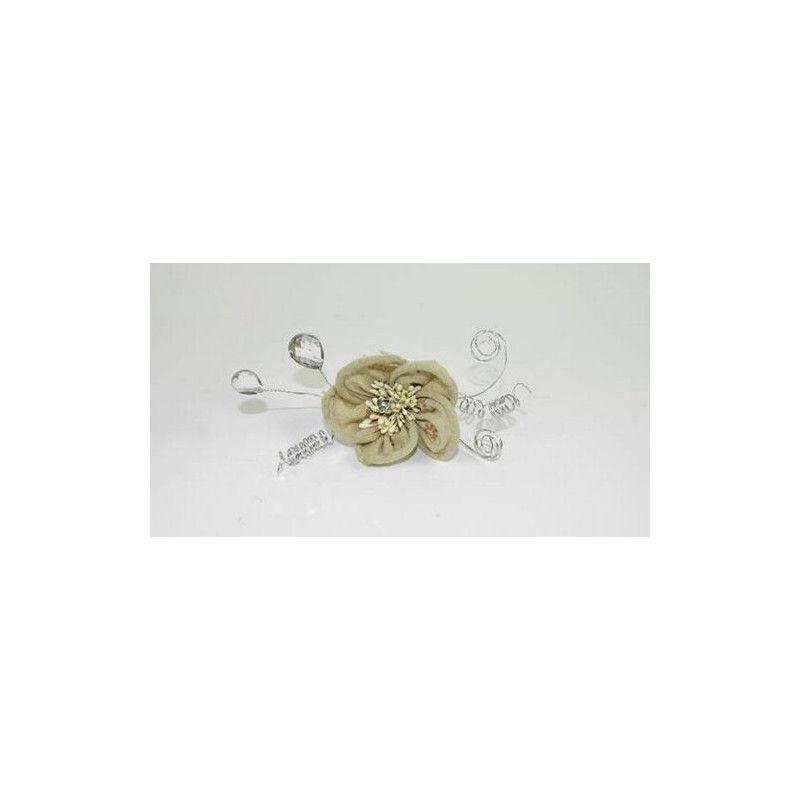 Lot de 3 fleurs décoratives en tissu de jute Déco festive 304129