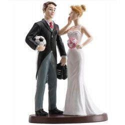 Figurine décoration couple mariés football Cake Design 305010