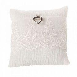 Déco festive, Coussin blanc dentelle pour alliances mariage, 30781, 5,40€