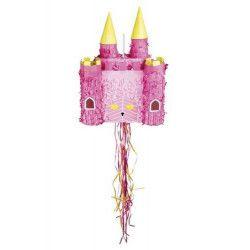 Pinata château rose à tirer 40 x 26 cm Déco festive 30936