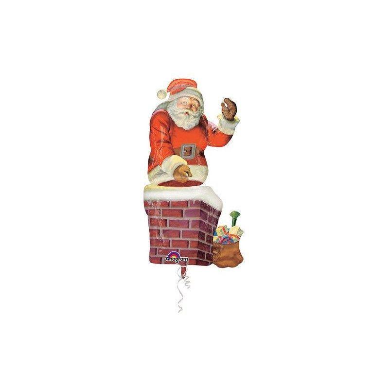 Ballon hélium géant Père Noël sur cheminée Déco festive 3163901