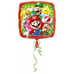 Déco festive, Ballon carré aluminium Mario Bros 43 cm, 3200801, 3,00€