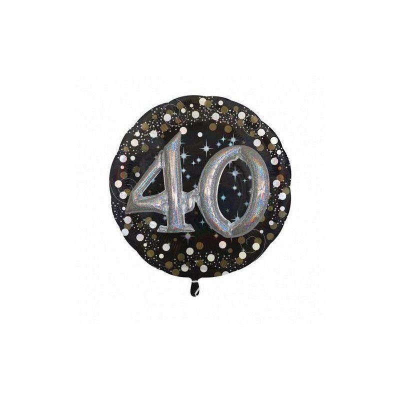 Ballon aluminium rond holographique 40 ans Déco festive 3215201