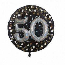 Ballon aluminium rond holographique 50 ans Déco festive 3215301
