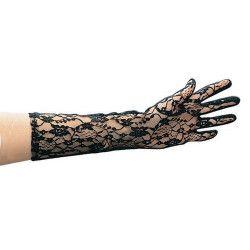 Gants noirs en dentelle 36 cm Accessoires de fête 3221