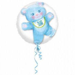 Ballon double aluminium transparent avec ourson bleu 60 cm Déco festive 3251501