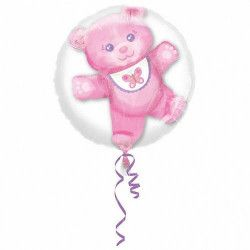 Déco festive, Ballon double aluminium transparent avec ourson rose 60 cm, 3251801, 11,90 €