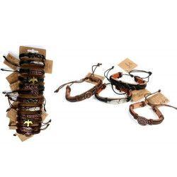 Jouets et kermesse, Lot 12 bracelets simili cuir avec plaque métal 17 cm, 32558-LOT, 0,70€