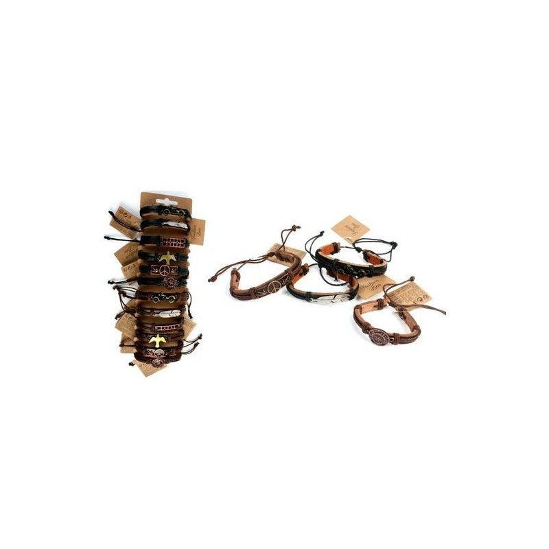 Bracelet simili cuir avec plaque métal 17 cm vendu par 12 Jouets et articles kermesse 32558-LOT