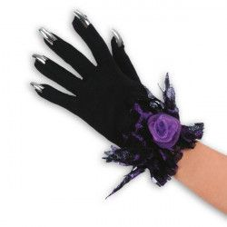 Accessoires de fête, Gants noirs avec faux ongles argentés, 3269, 13,50€