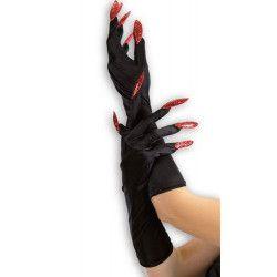 Gants noirs 40 cm avec faux ongles rouges pailletés Accessoires de fête 3272