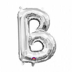 Ballon lettre B polyamide argent 40 cm Déco festive 3301301