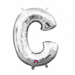Ballon lettre C polyamide argent 40 cm Déco festive 3301501