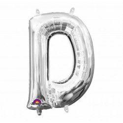 Déco festive, Ballon lettre D polyamide argent 40 cm, 3301701, 0,99€