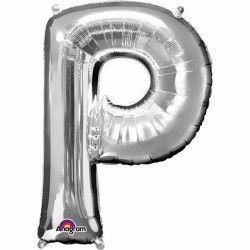 Déco festive, Ballon lettre P polyamide argent 40 cm, 3304201, 0,99€