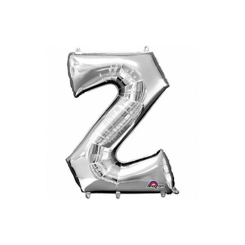 Ballon lettre Z polyamide argent 40 cm Déco festive 3306201