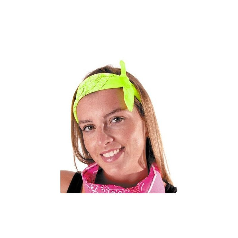 Bandana néon vert Accessoires de fête 333143