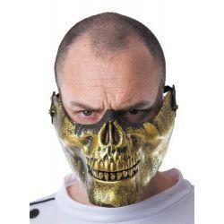 Demi masque tête de mort doré Accessoires de fête 33318