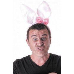 Accessoires de fête, Serre-tête de lapin avec nœud rose, 333183, 3,90€