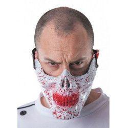 Demi masque tête de mort ensanglantée Accessoires de fête 33319