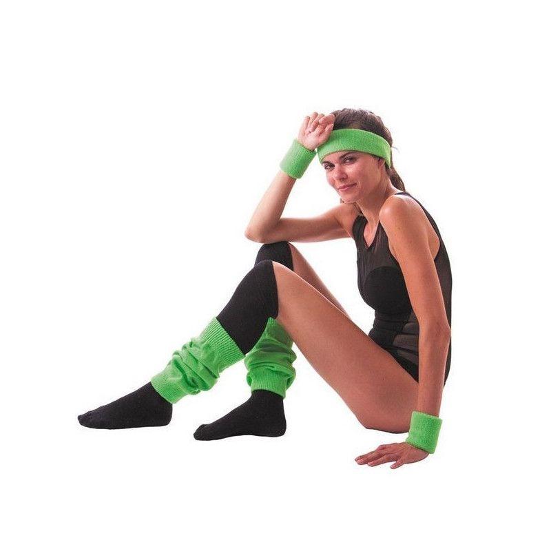 Set poignets et bandeau éponge néon vert Accessoires de fête 33354
