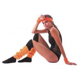 Set poignets et bandeau éponge néon orange Accessoires de fête 33357