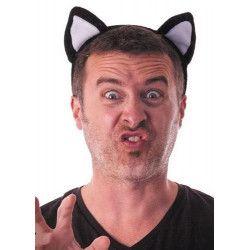 Serre tête chat blanc et noir adulte Accessoires de fête 33371
